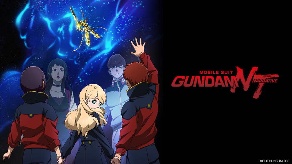 "A promotional image of the main cast of ""Gundam Narrative."""