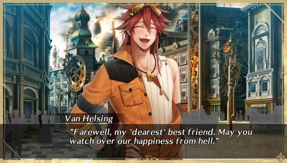 "A screenshot of Van Helsing from ""Code: Realize ~Wintertide Miracles~"""