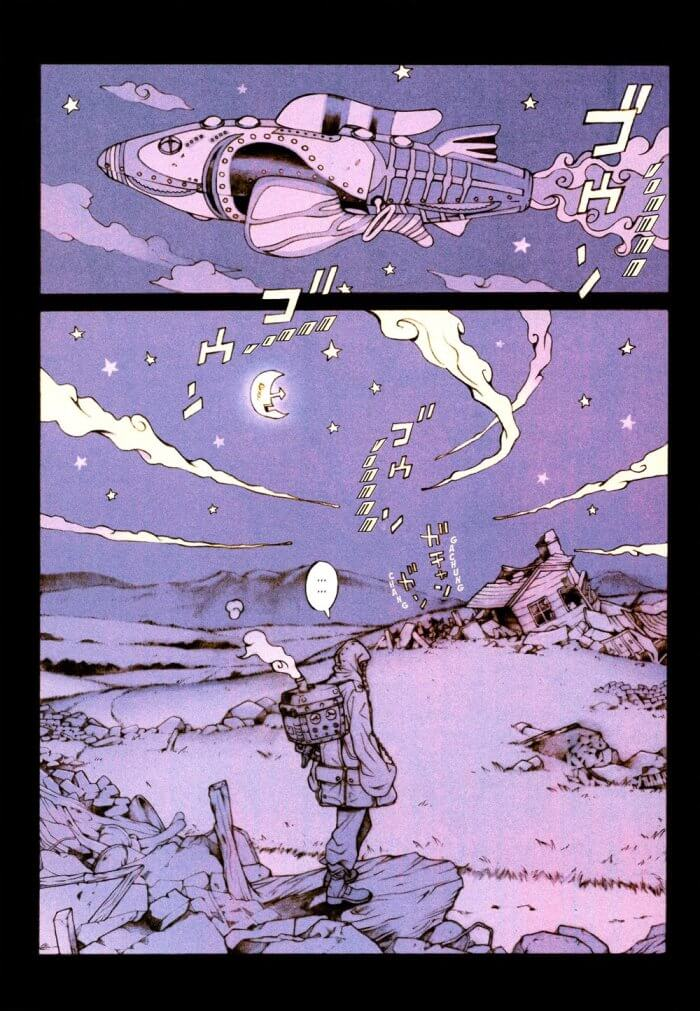 "Colorful skies and landscapes used in the ""Pez"" manga"