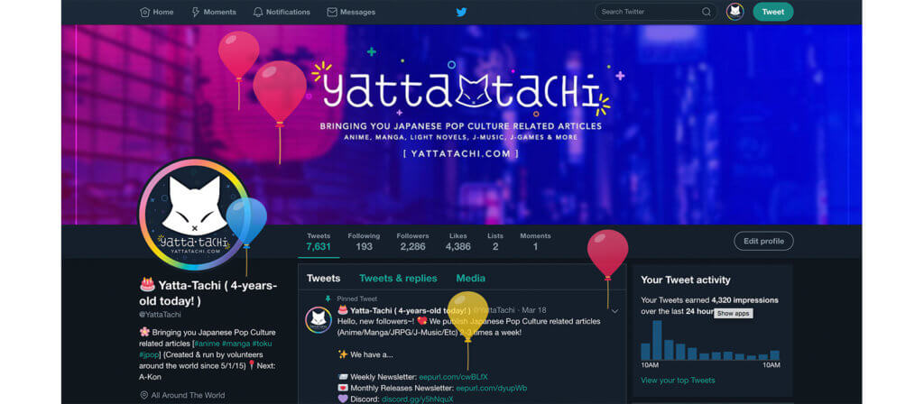 Yatta-Tachi's Twitter Profile on May 1st 2019