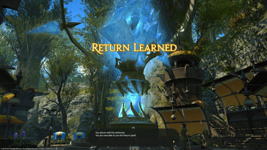 A player attuned to an Aetheryte crystal, and unlocked the Return ability.