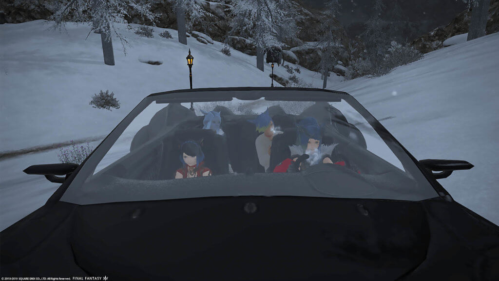 4 players riding in the Final Fantasy XIV Regalia Car mount
