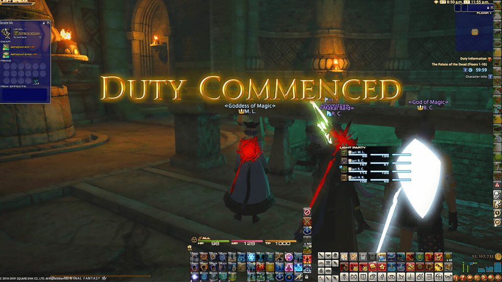 "Healers in a deep dungeon, known as Palace of the Dead, with the title screen saying, ""Duty Commenced"""