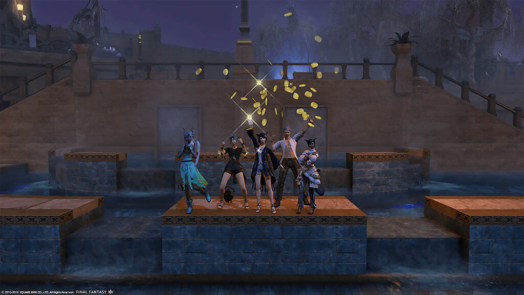 5 players are waving, cheering, and tossing gil into the air in celebration.