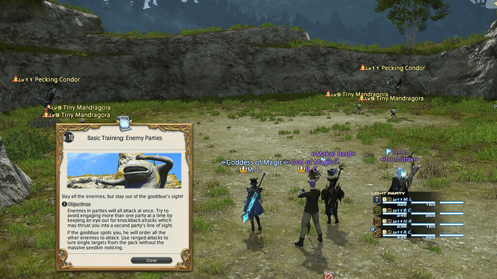 "A group of players are in a guildhest with a prompt on the screen that says ""Level 10: Basic Training: Enemy Parties""."