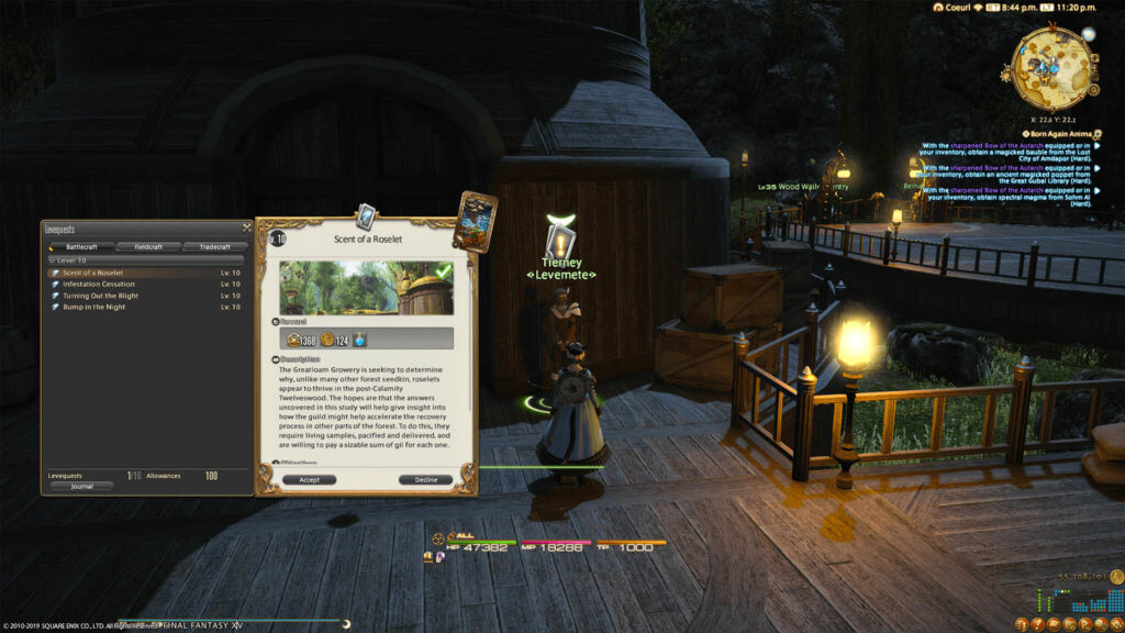 A player is looking at a list of Levequests, which are currently available to them. Currently highlighted is a Levequest called Scent of the Roselet.