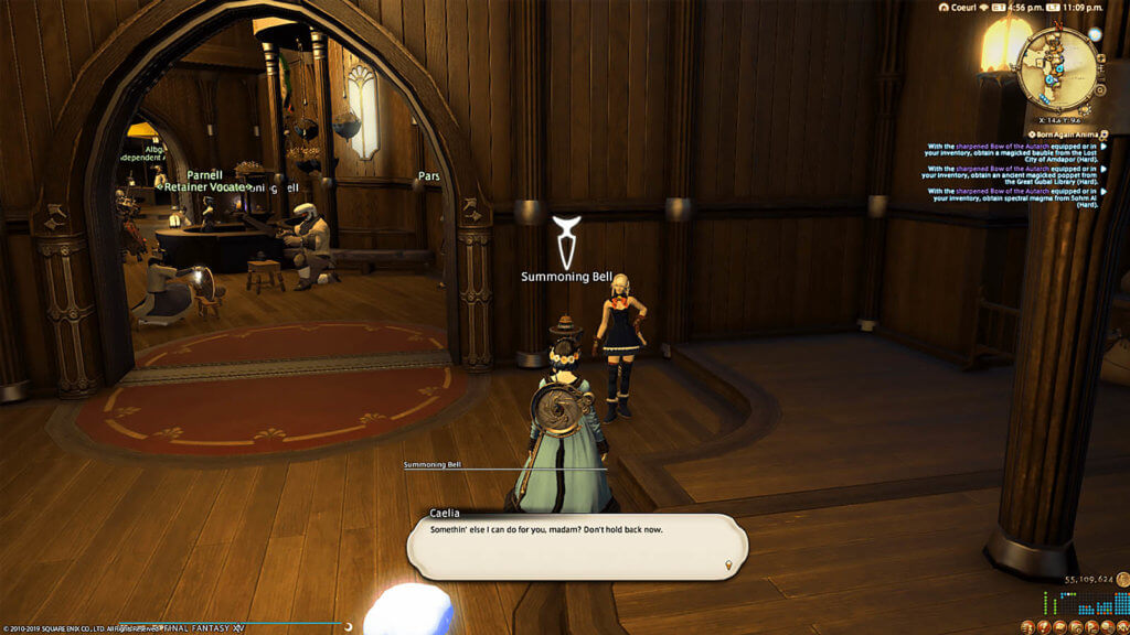 "Player is standing in front of their retainer, Caelia, with a chat prompt from Caelia saying, ""Somethin' else I can do for you, mada? Don't hold back now."""