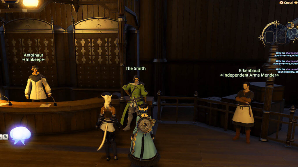 Two players are standing in front of the NPC, known as the Smith, in Gridania.