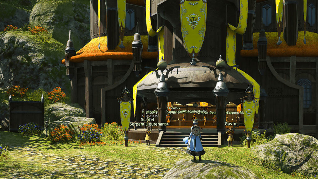 Player is standing in front of the Twin Adders' Office in Gridania