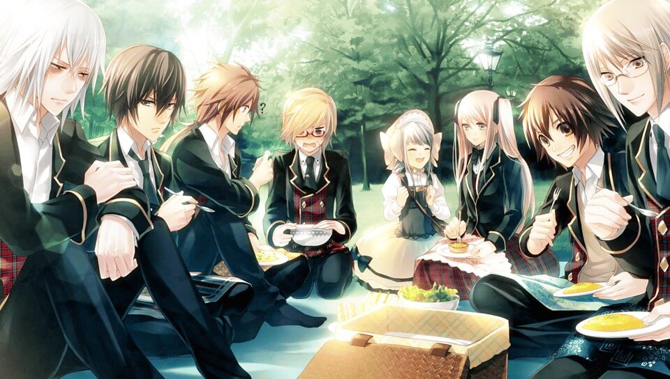 Jack, Herlock, Watson Jr, Lupine, Hudson, Sara, Kobayashi, and Akechi eating at a picnic
