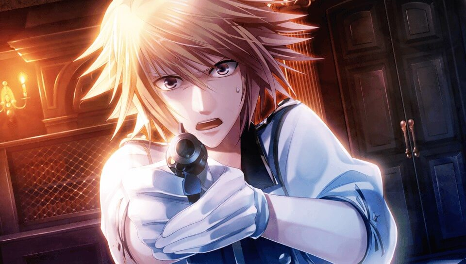 Lupine from London Detective Mysteria points a gun at the screen