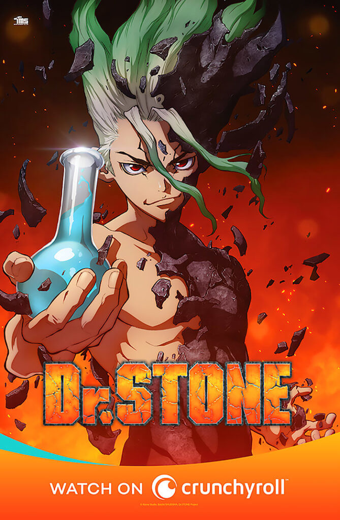 Dr. STONE promotional poster from Crunchyroll
