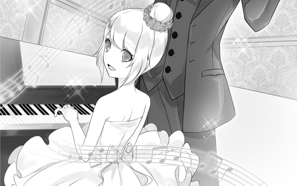 Mashiro plays the piano next to Kou and Sou