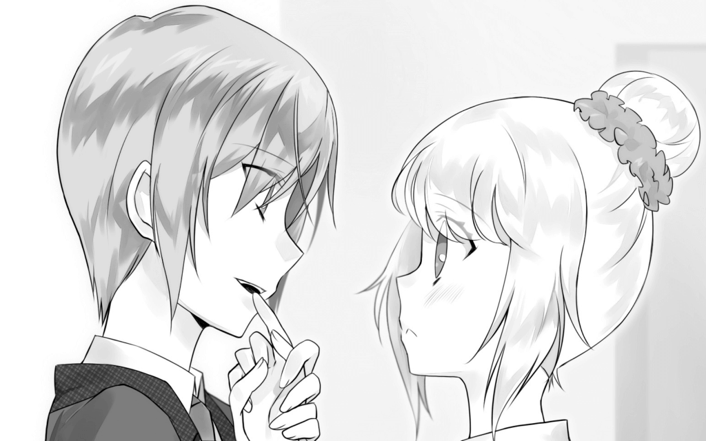Sou holds Mashiro's finger and licks chocolate off it