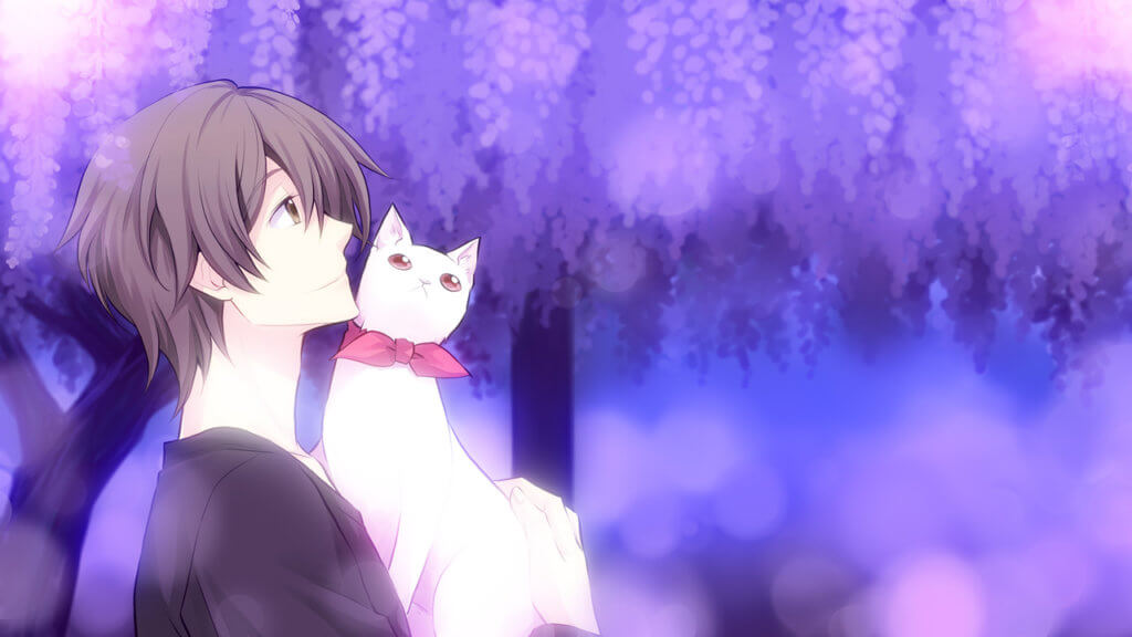 Takuma holds cat Honoka in the park garden