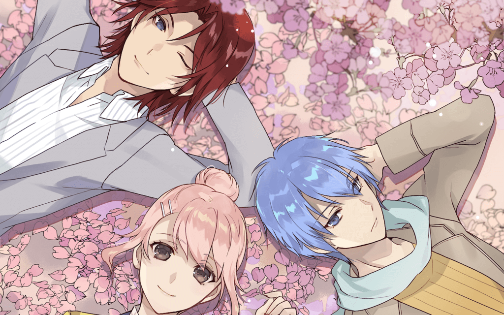 Kou Mashiro and Kon lay on a pile of cherry blossoms