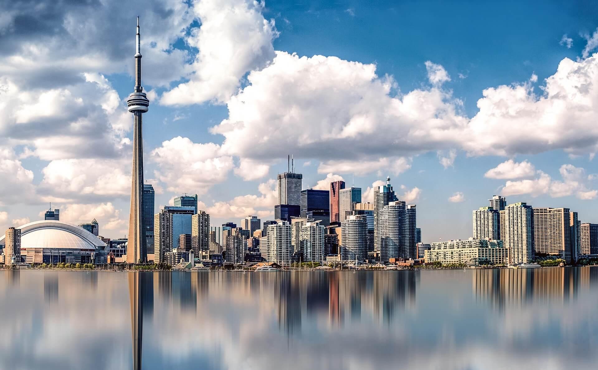 A landscape shot of Toronto, Canada's skyline