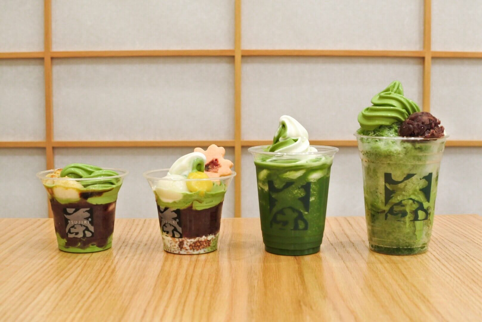 Display of Tsujiri dessert ice cream in various cup sizes