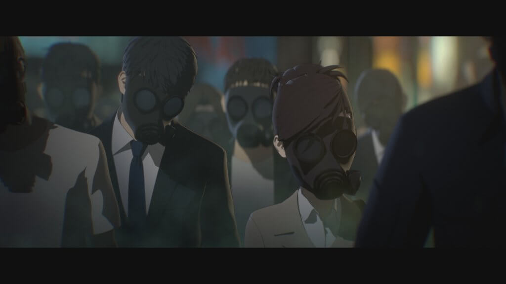 People wearing gas masks in Human Lost