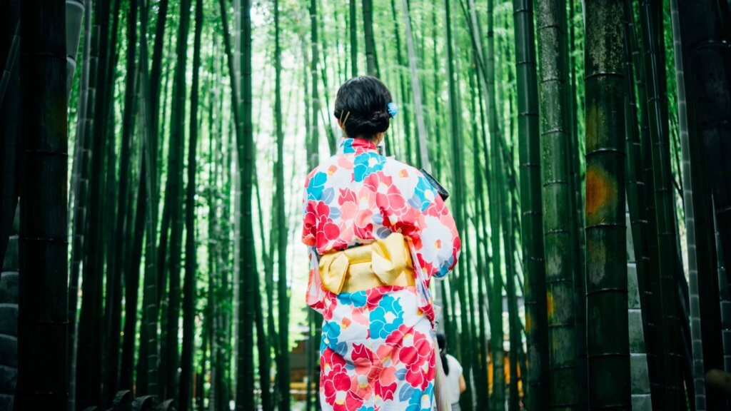 Walking Through a Bamboo forest in a kimono