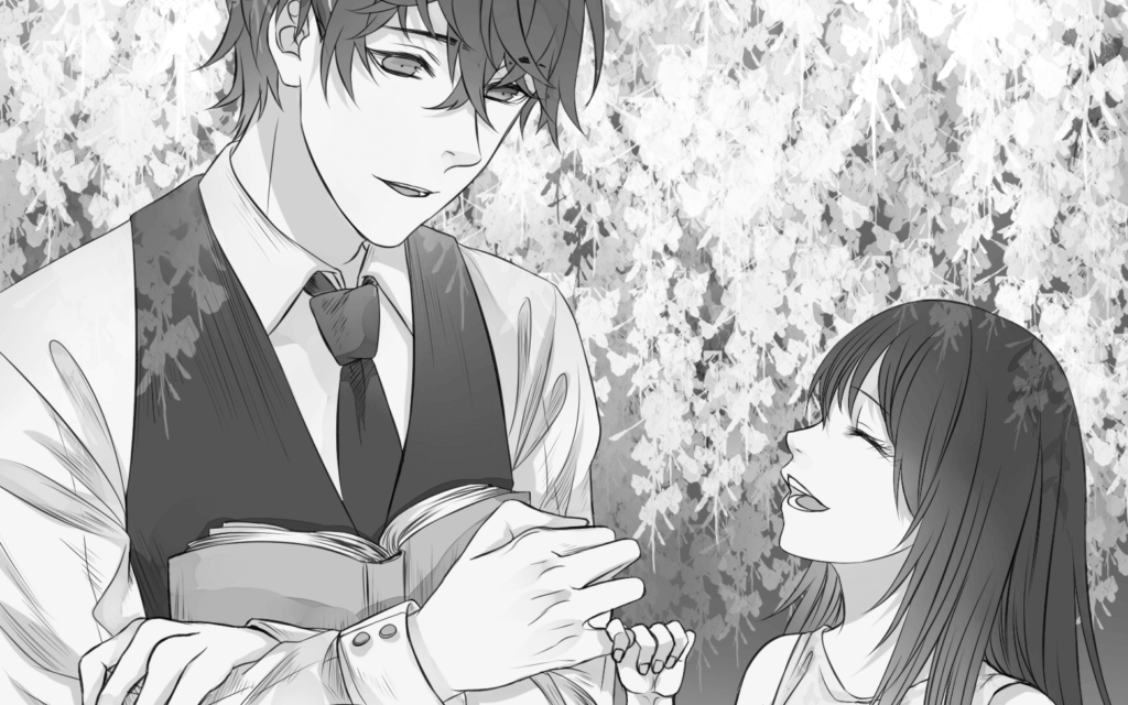 Shindo makes a pinky promise with Satsuki under the Wisteria trees