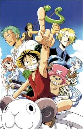 Luffy, Chopper, Vivi, Sanji, Nami, Zoro, and Usopp on the Going Merry circa Alabasta.