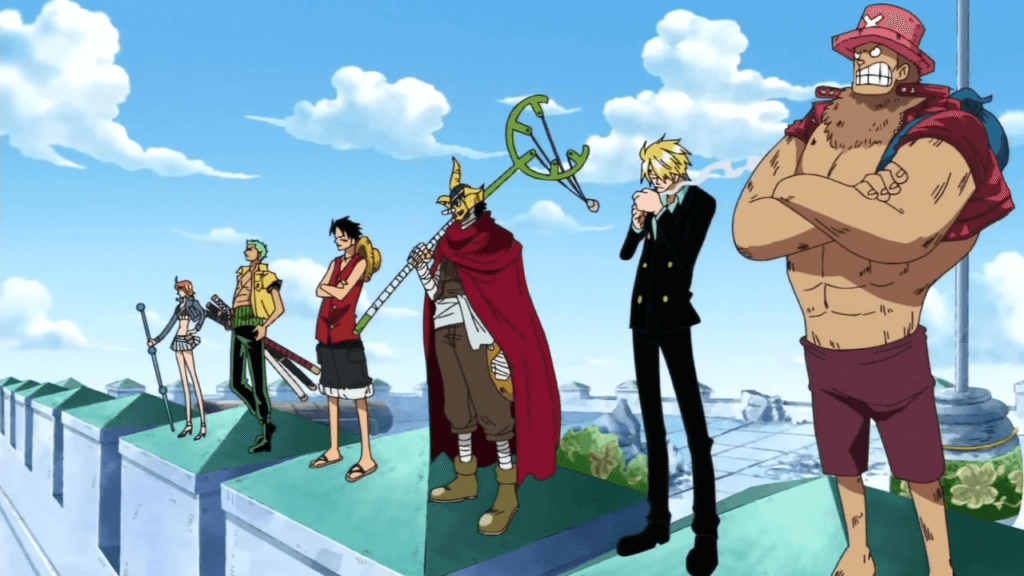 Luffy, Zoro, Sanji, Nami, Chopper, and Soge-King on the battlements at Enies Lobby.