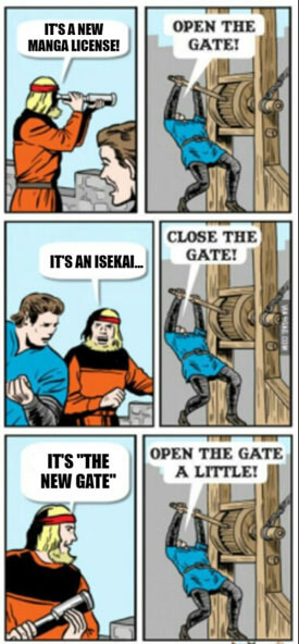 """A meme template used to explain the reviewer's feelings about the series. It is a conversation between an observer and a gatekeeper. The observer says something good and the gatekeeper opens the gate. Next, the observer says something bad about the topic at hand and the gatekeeper closes the gate. Finally, the observer says something in the middle and the gatekeeper declares """"Open the gate a little!"""""""