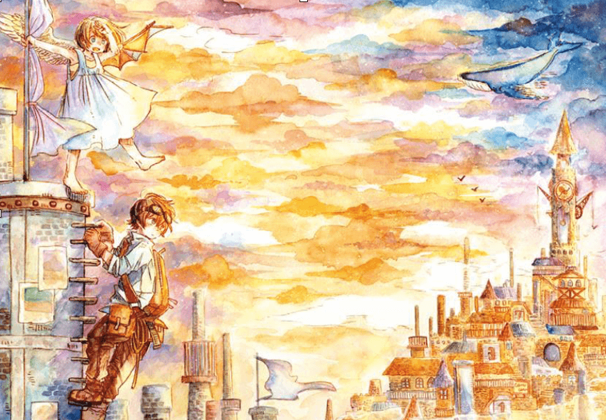 Beyond the clouds manga background page