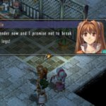 Estelle threatens to break the legs of an enemy if they don't surrender.