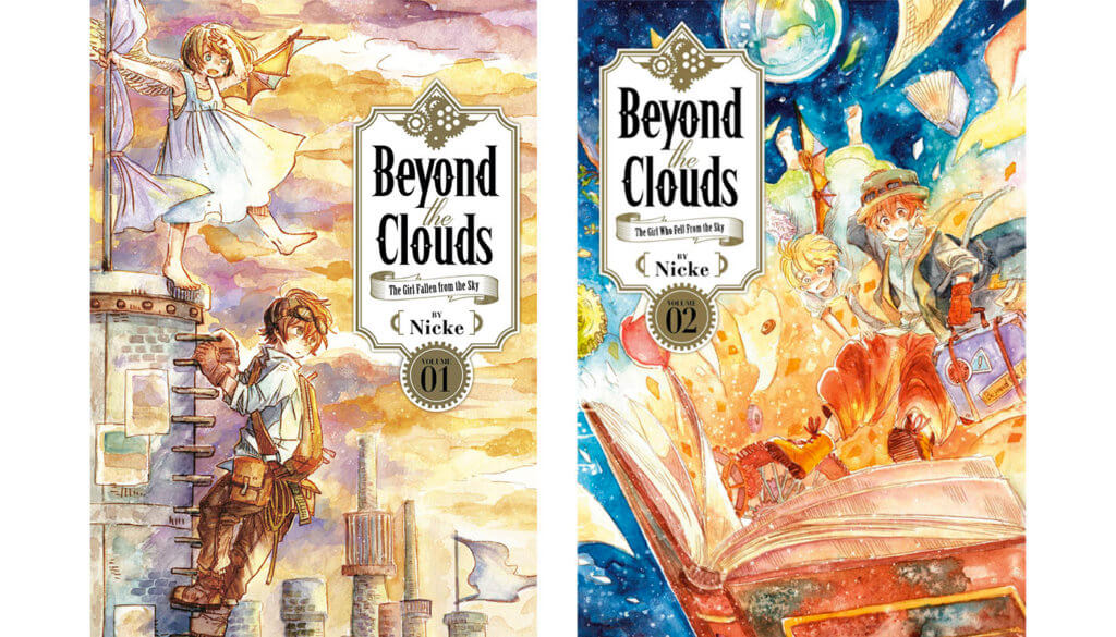 The volume 1 & 2 covers for Beyond the Clouds.