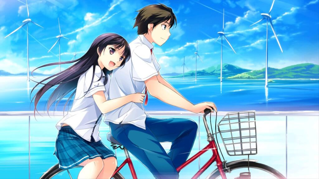 Aoi peddling a bike while Kotori smiles and sits side-saddle behind him, her arms around his waist.