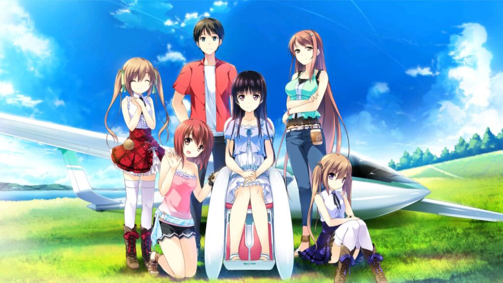 Aoi, Ageha, Kotori, Amane, Asa, and Yoru take a picture together in front of their glider.