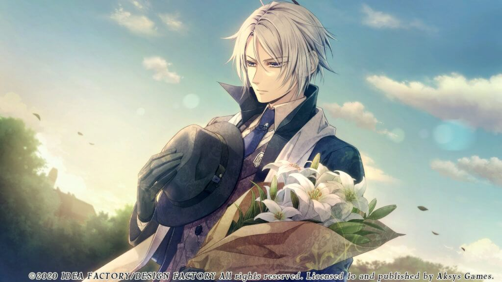 Dante holds flowers and his hat to his chest while praying at a grave.