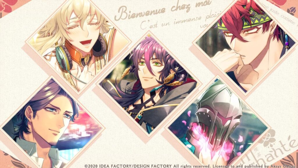 Icons of all five love interests in Cafe Enchante