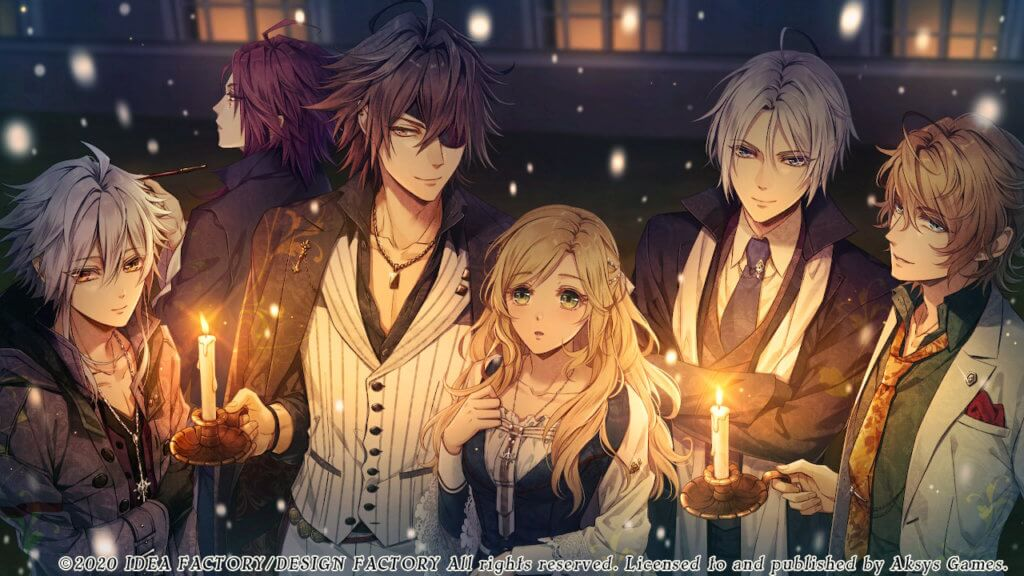 Orlok, Yang, Gil, Lili, Dante, and Nicola are all gathered outside while it snows. Gil and Nicola hold lit candles.