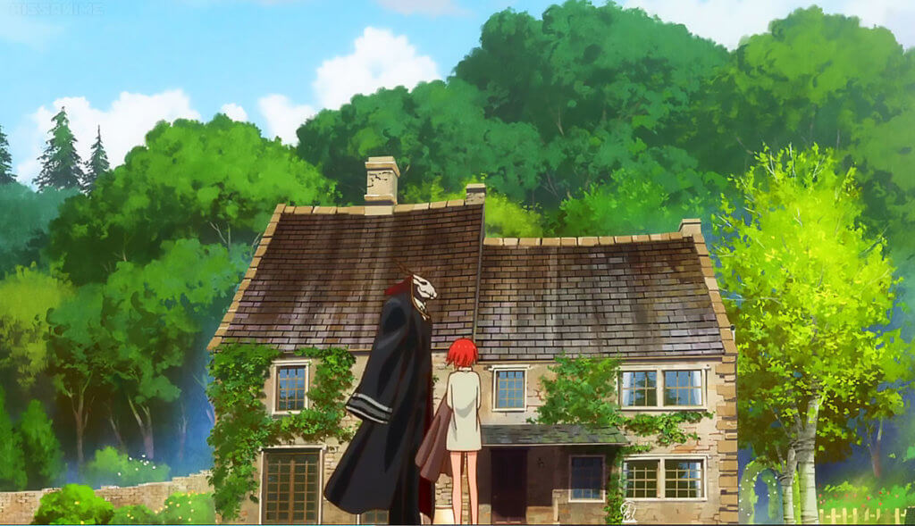 Elias and Chise standing outside of Elias' cottage.