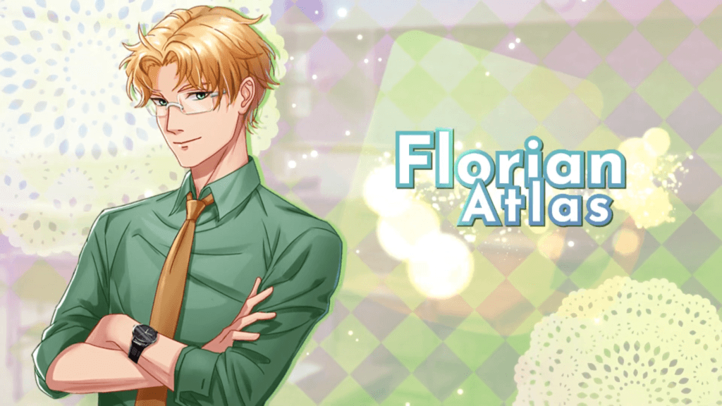Florian Atlas with their arms crossed wearing a yellow tie, green button up shirt, and glasses.