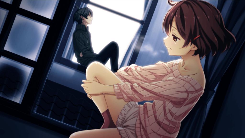 Nakizaki and Tomoe sitting on their respective window seals.