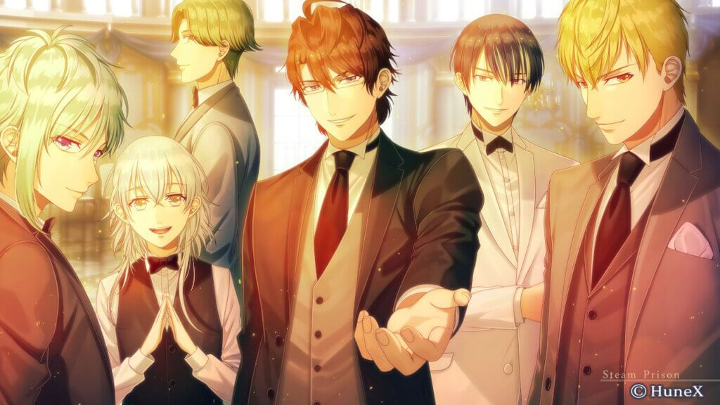 All Love Interests in suits looking at player. From left to right: Ulrik, Yune, Fin, Eltcreed, Adage, Ines.