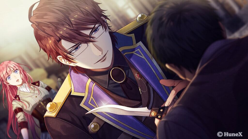Eltcreed holds a knife in front of another man while Cyrus stands behind him with a worried look.