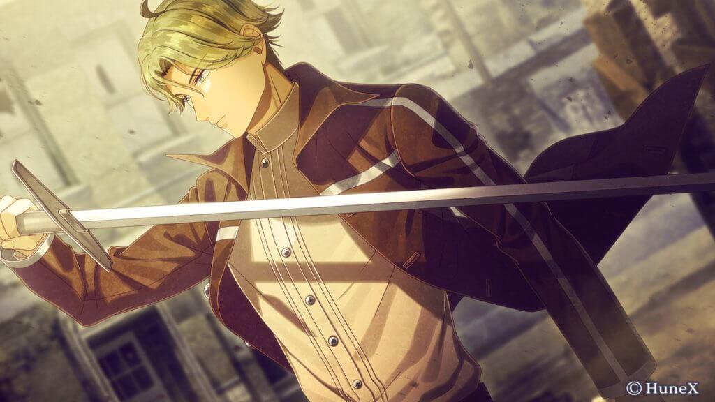 Fin wielding sword in right hand