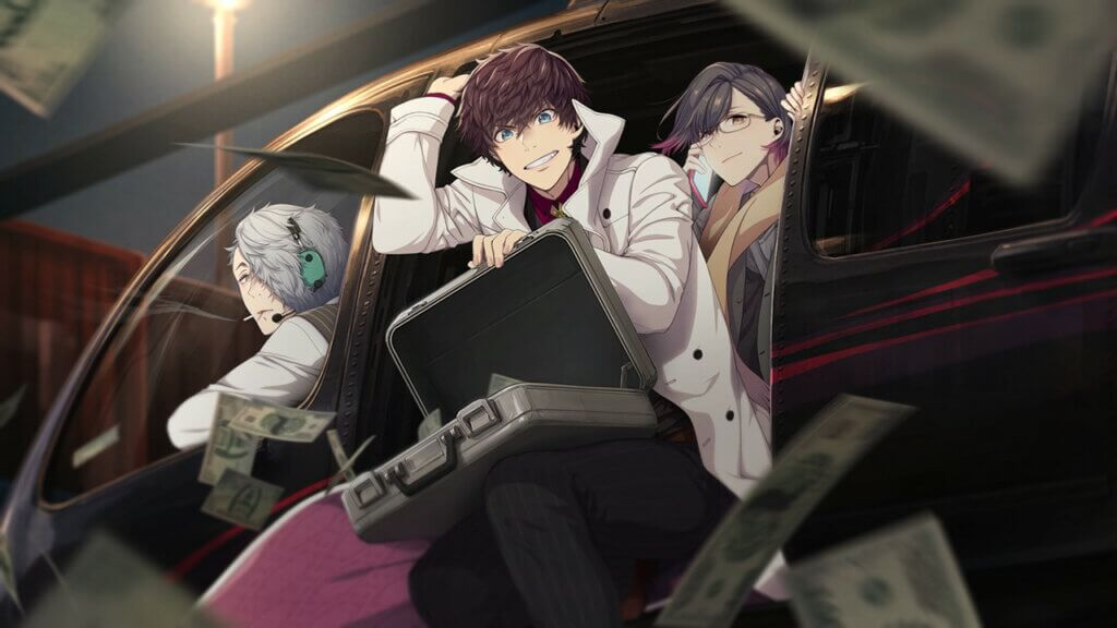 Limbo holding an open suitcase while he hands out of a helicopter. Shu is flying and Helvetica is behind Limbo speaking on the phone.