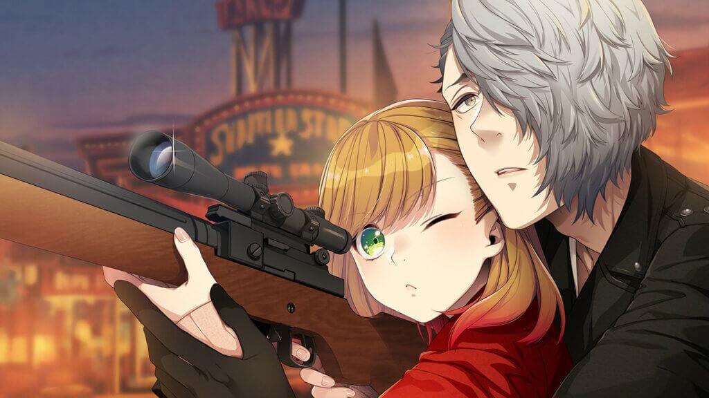 Shu helping Teuta shoot a rifle.