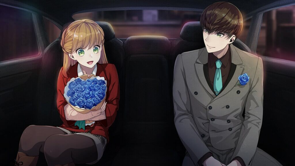 Teuta sitting in the back of a car next to Adam. A bouquet of blue roses is in her hands.
