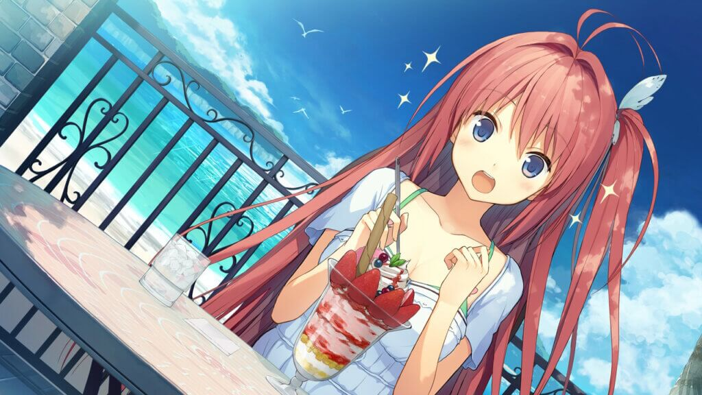 Aokana Asuka sitting at a table eating a large strawberry parfait. The ocean is behind her.
