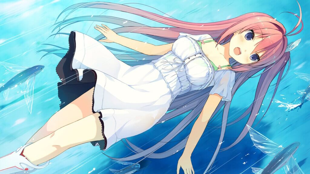 Aokana Asuka in a white dress flying just above the ocean, backwards. Flying fish surround her.