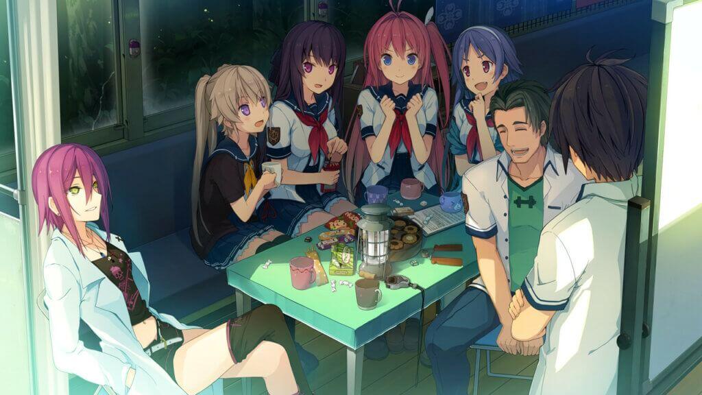 Aokana Flying Circus club meeting. From left to right: Aoi Kagami, Mashiro, Misaki, Asuka, Madoka, Shion, and Masaya, who's back is facing the player.