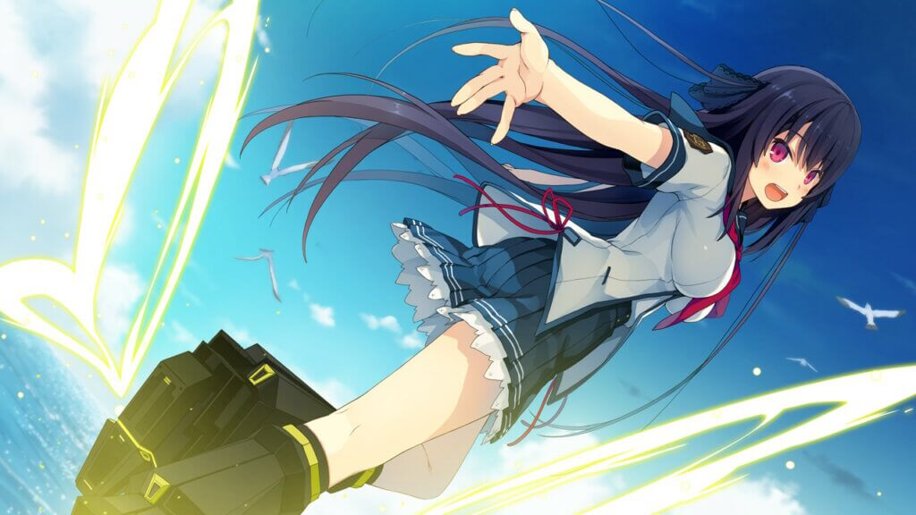 Aokana Misaki flying in her school uniform. She's reaching her right hand behind her towards the player.