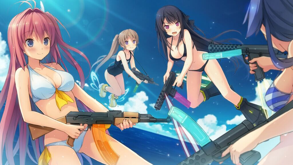 Aokana the Flying Circus club is having a water gun fight while flying, but the guns look real. From left to right: Asuka, Mashiro, Misaki, and Madoka, who's back is to the player.